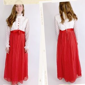 Vtg 60s Red White Polka Dot Ruffle Lace Maxi Dress